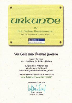 """Urkunde """"Grüne Hausnummer"""""""